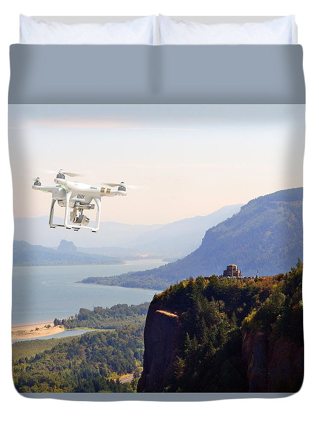 Aerial Duvet Cover featuring the photograph Crown Point by Mike Littlefield