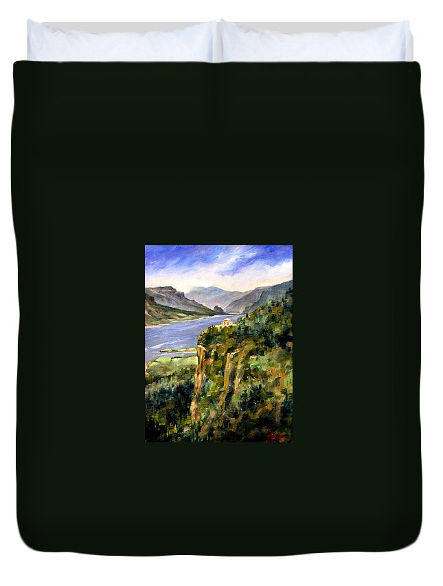 16 X 12 Duvet Cover featuring the painting Crown Point Oregon by Jim Gola