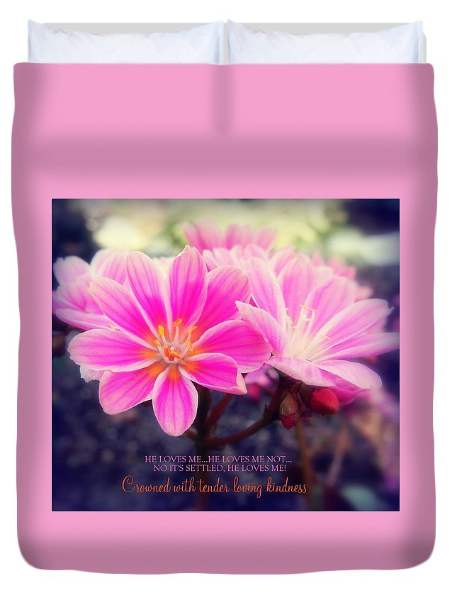 Pink Duvet Cover featuring the photograph Crowned With Kindness by Karen Jbon Lee