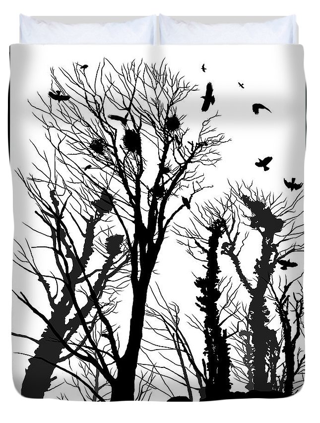 Crows Duvet Cover featuring the photograph Crows Roost 1 - Black And White by Philip Openshaw