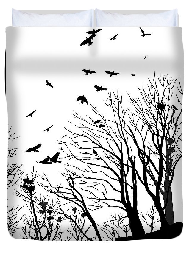 Crows Duvet Cover featuring the digital art Crows Roost 2 - Black And White by Philip Openshaw