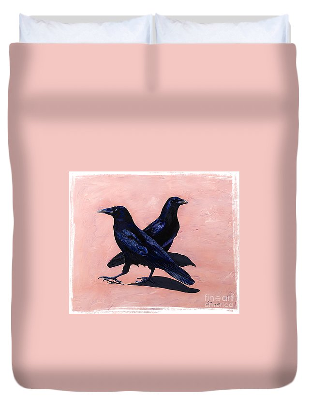 Crows Duvet Cover featuring the painting Crows by Sandi Baker