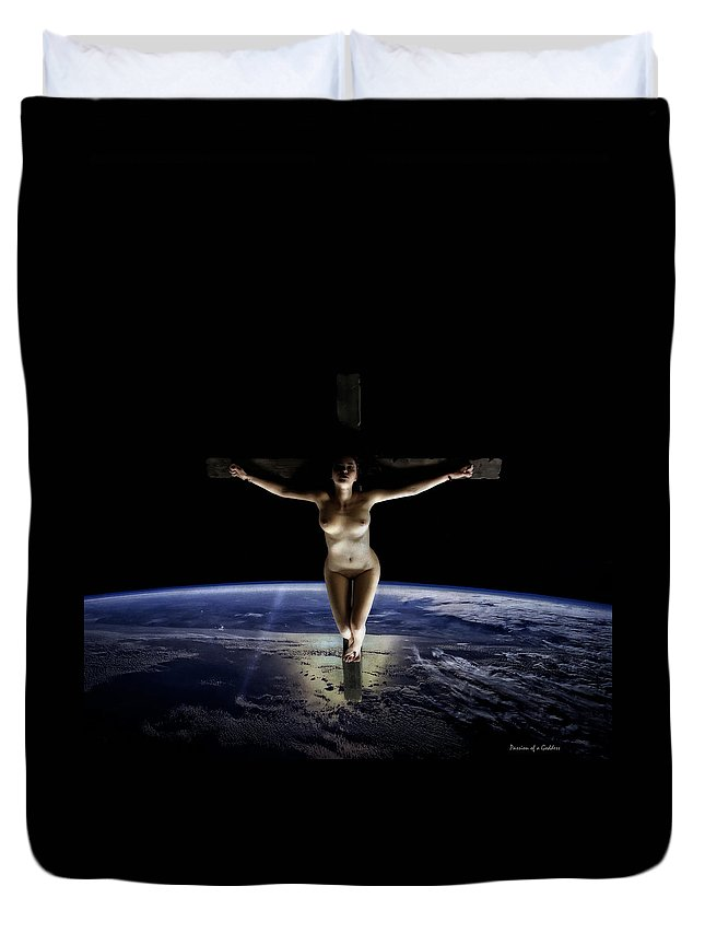 Crucified Duvet Cover featuring the digital art Crucified Tellus by Ramon Martinez