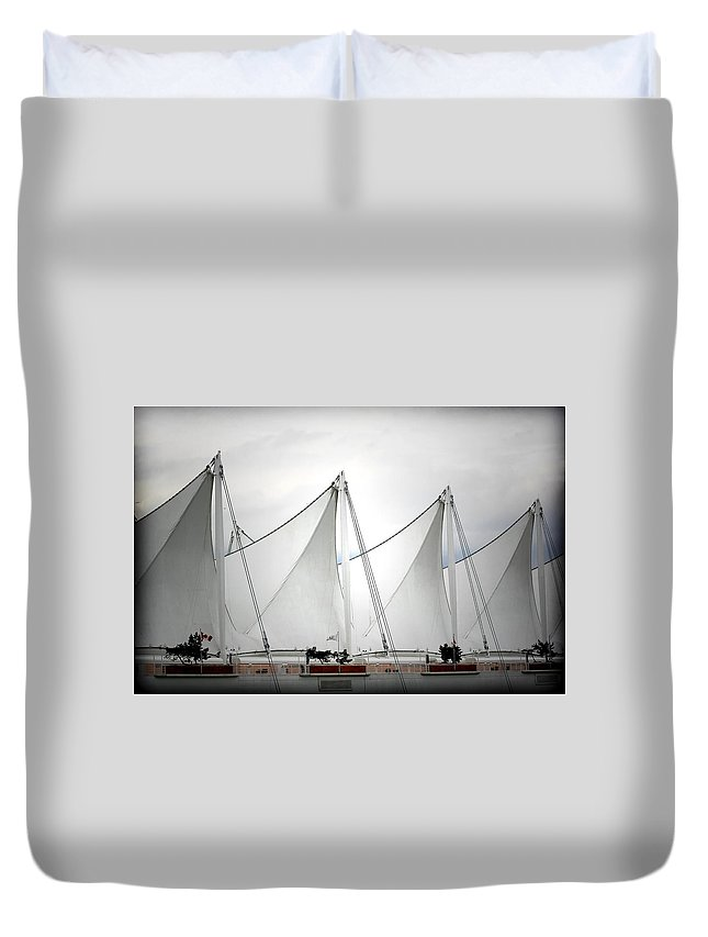 Vancouver Duvet Cover featuring the photograph Cruise Ship Terminal Vancouver Canada by Christine Till