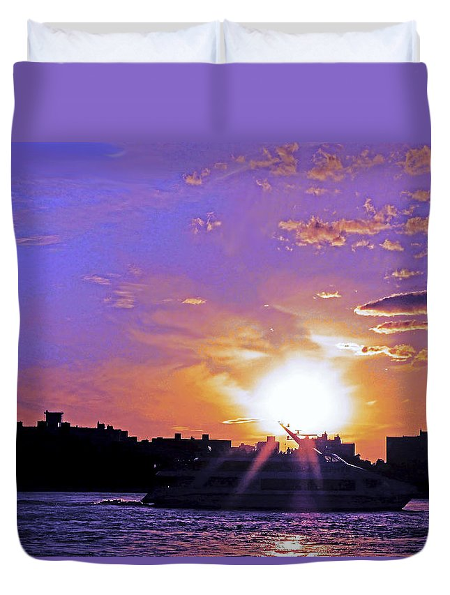 Boat Duvet Cover featuring the photograph Cruising Down The Hudson by Kendall Eutemey