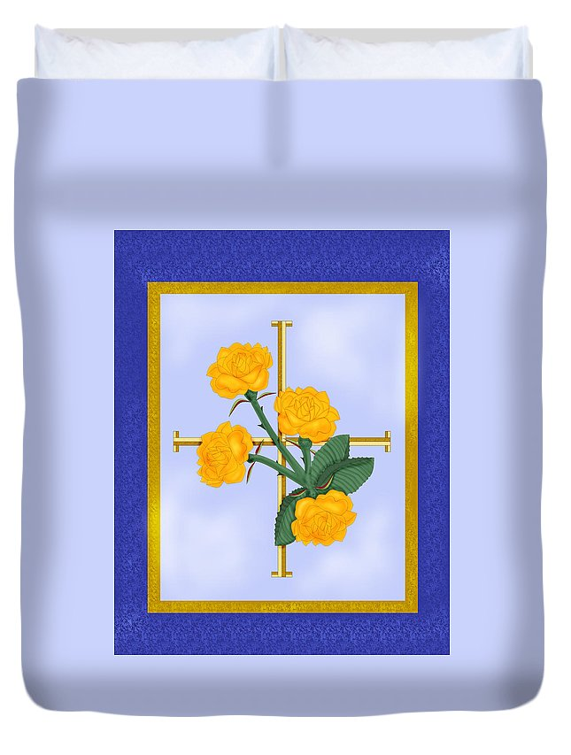 Golden Roses Duvet Cover featuring the painting Crusader Cross And Four Gospel Roses by Anne Norskog