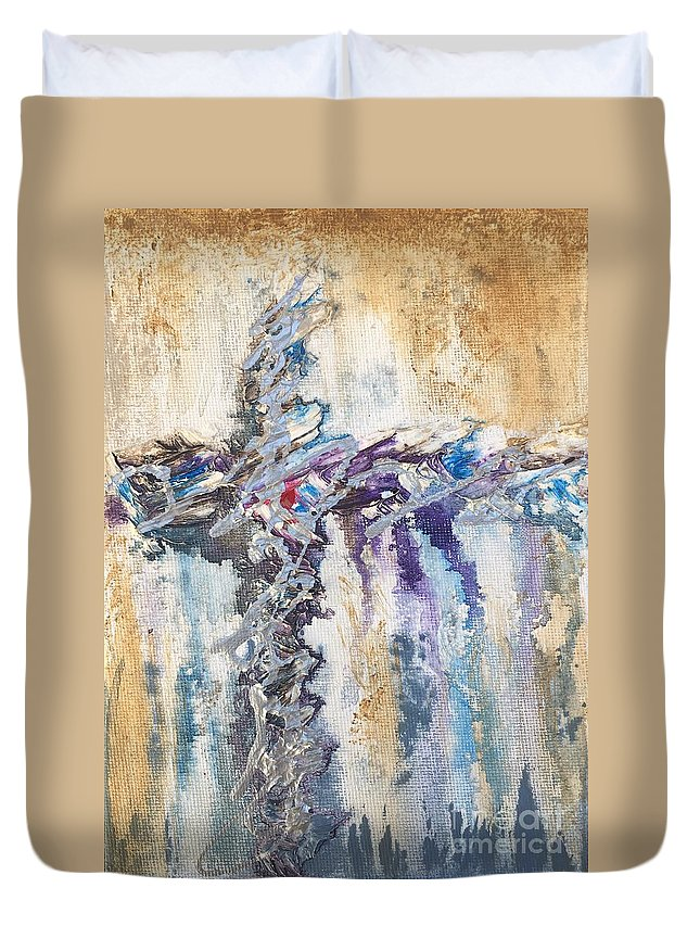 Abstract Duvet Cover featuring the painting Crux 5 by Linda Cranston