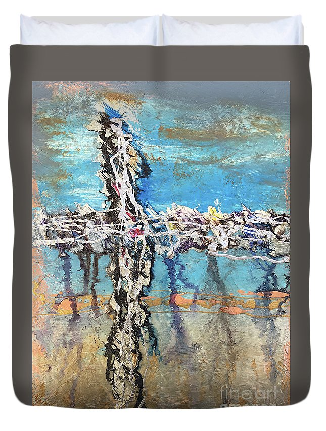 Abstract Duvet Cover featuring the painting Crux 6 by Linda Cranston