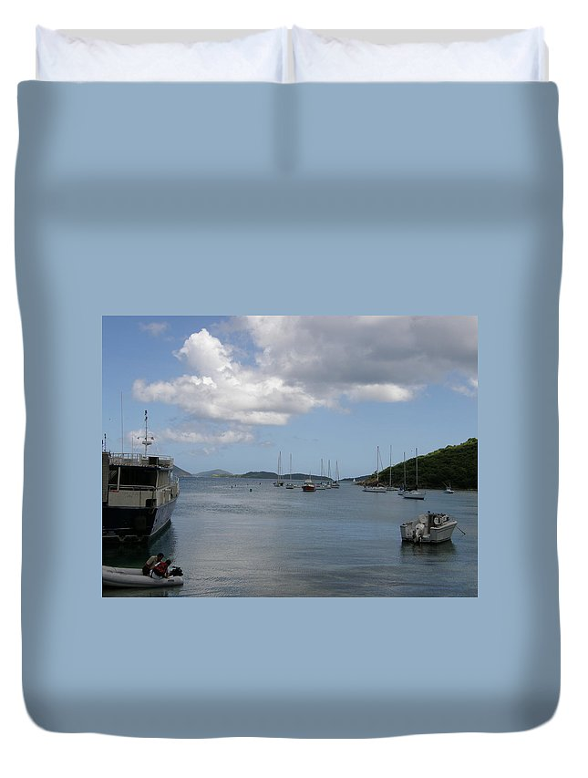 Ocean Duvet Cover featuring the photograph Cruz Bay by Kimberly Mohlenhoff
