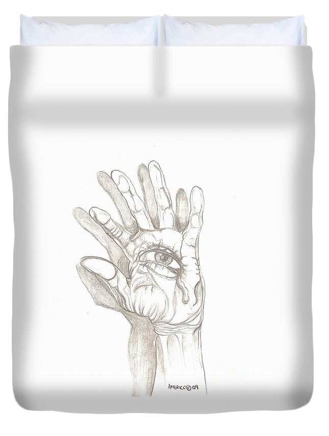 Hand Duvet Cover featuring the drawing Crying Hand by Americo Salazar