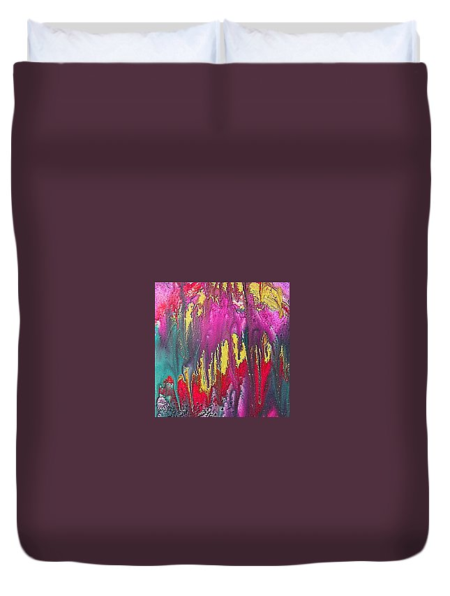 Sorrow Duvet Cover featuring the painting Crying Time by Dragica Micki Fortuna