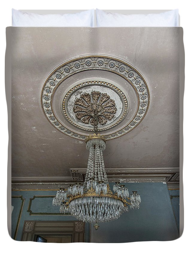 Chandelier Duvet Cover featuring the photograph Crystal Beads by Dale Powell