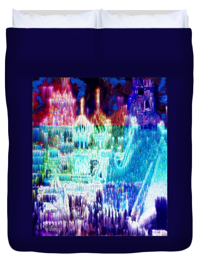 Northern Lights Duvet Cover featuring the digital art Crystal City by Seth Weaver