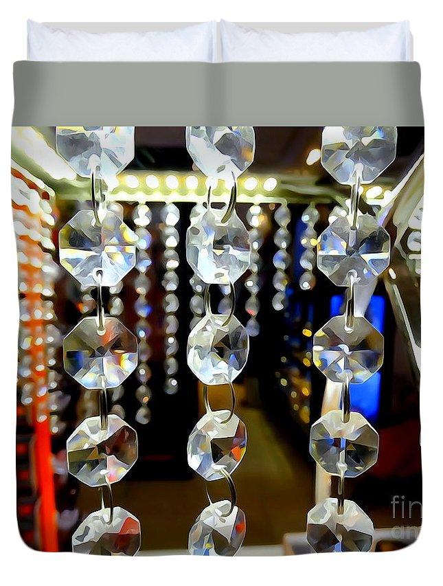 Digital Art Duvet Cover featuring the ceramic art Crystal Curtain by Ed Weidman