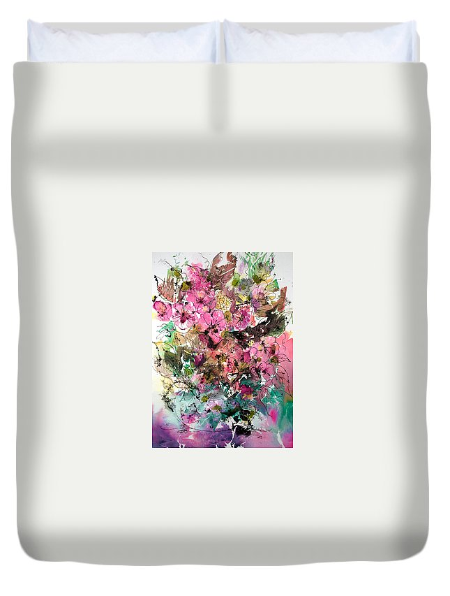 Abstract Impressionism Duvet Cover featuring the painting Crystal Reflections by Barbara Colangelo
