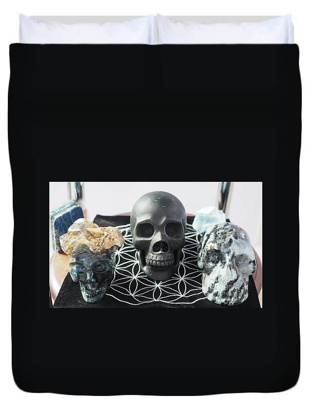 Rebecca Dru Duvet Cover featuring the photograph Crystal Skulls Michelangelo, Jesus And Xenia by Rebecca Dru