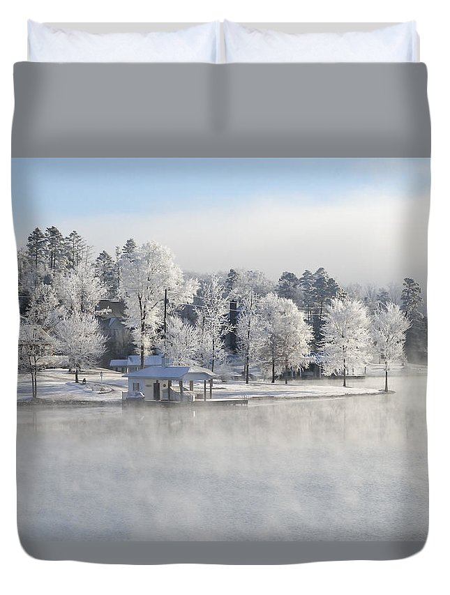 Winter Scene Duvet Cover featuring the photograph Crystal Trees II by Glenda Ward