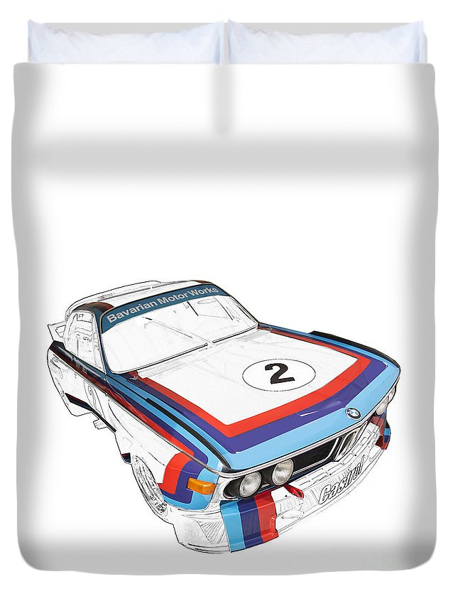 Bmw Duvet Cover featuring the digital art Csl Batmobile by Roger Lighterness