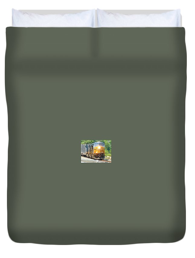 This Is A Photo Of Csx Engine 5333 Help Pulling A Train By West Point Military Academy Duvet Cover featuring the photograph Csx Engine 5333 by William Rogers
