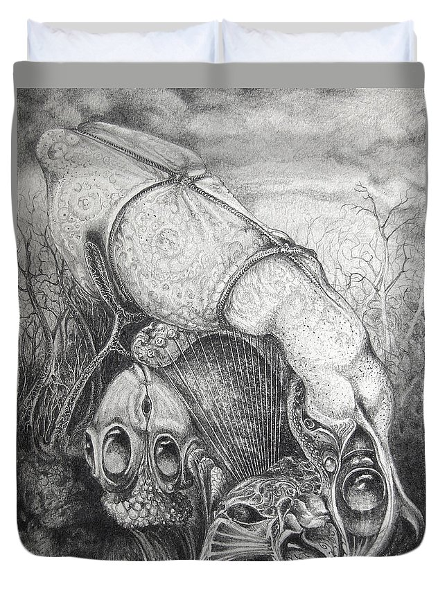 Surrealism Duvet Cover featuring the drawing Ctulhu Seedpods by Otto Rapp