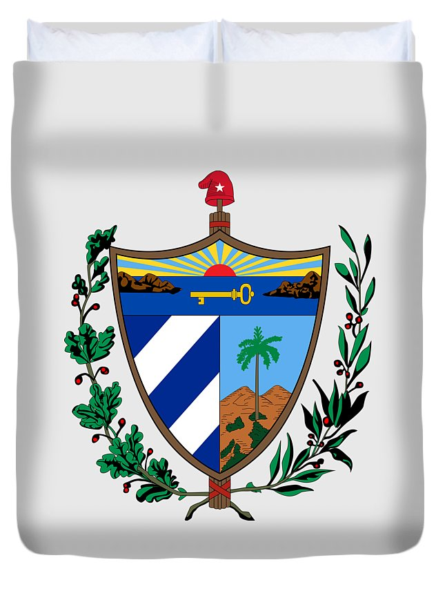 Cuba Duvet Cover featuring the drawing Cuba Coat Of Arms by Movie Poster Prints
