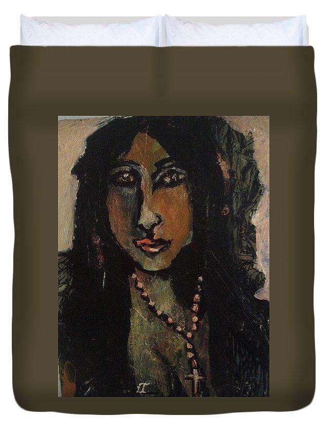 Portrait Of A Cuban Queen Duvet Cover featuring the painting Cuba Lady by Jonn Alver
