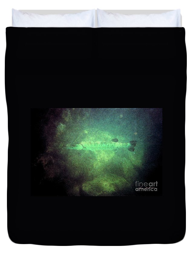 Barracuda Duvet Cover featuring the digital art Cuda In The Water by Tommy Anderson