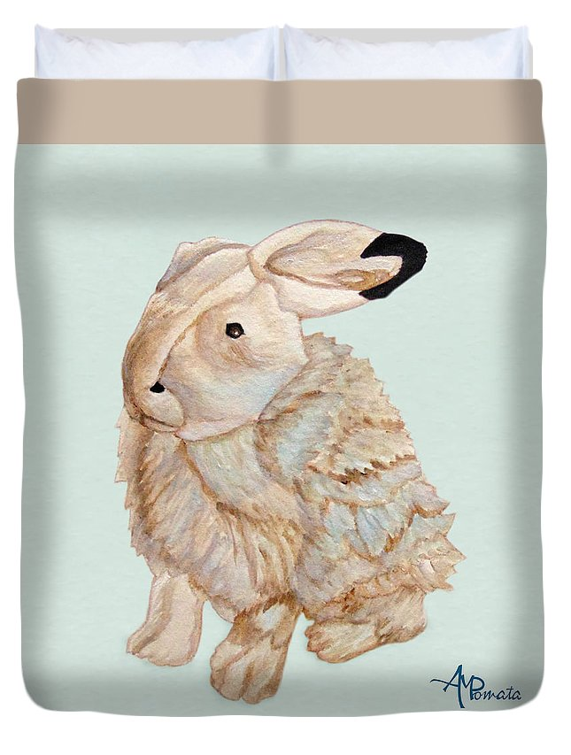 Cuddly Animals Duvet Cover featuring the painting Cuddly Arctic Hare II by Angeles M Pomata