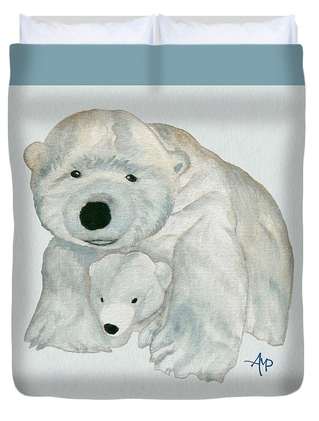 Polar Bear Duvet Cover featuring the painting Cuddly Polar Bear Watercolor by Angeles M Pomata