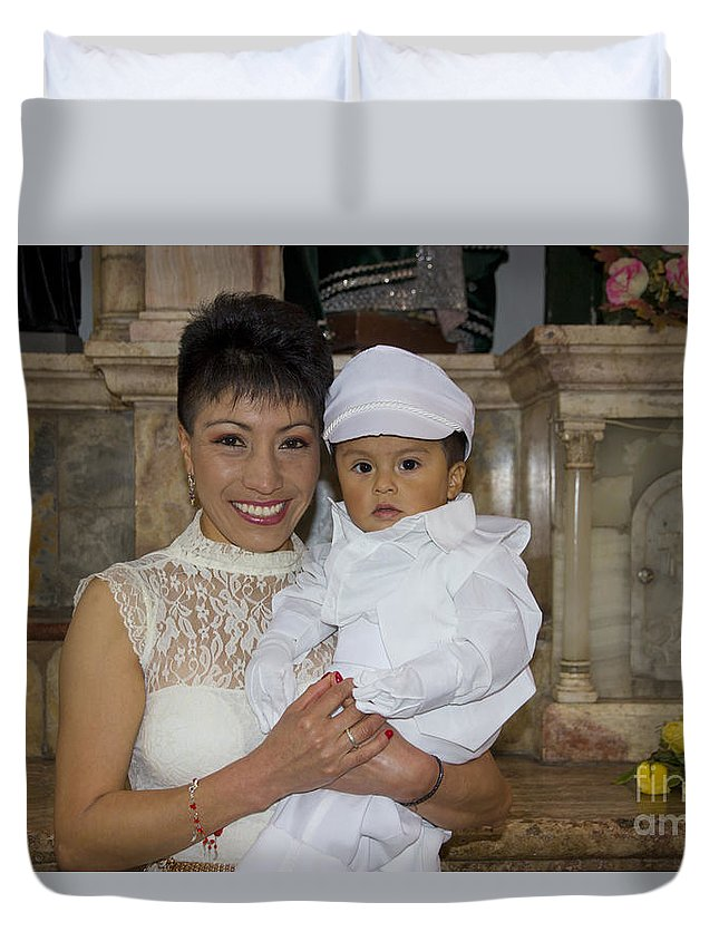 Baptism Duvet Cover featuring the photograph Cuenca Kids 646 by Al Bourassa