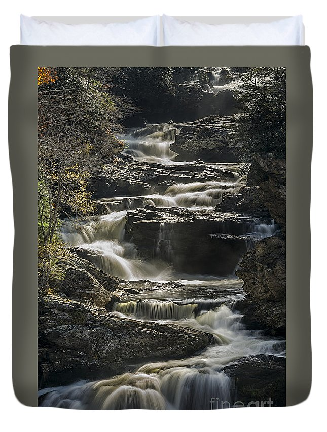 Appalachian Duvet Cover featuring the photograph Cullasaja Falls In Autumn Close Up by John MacLean