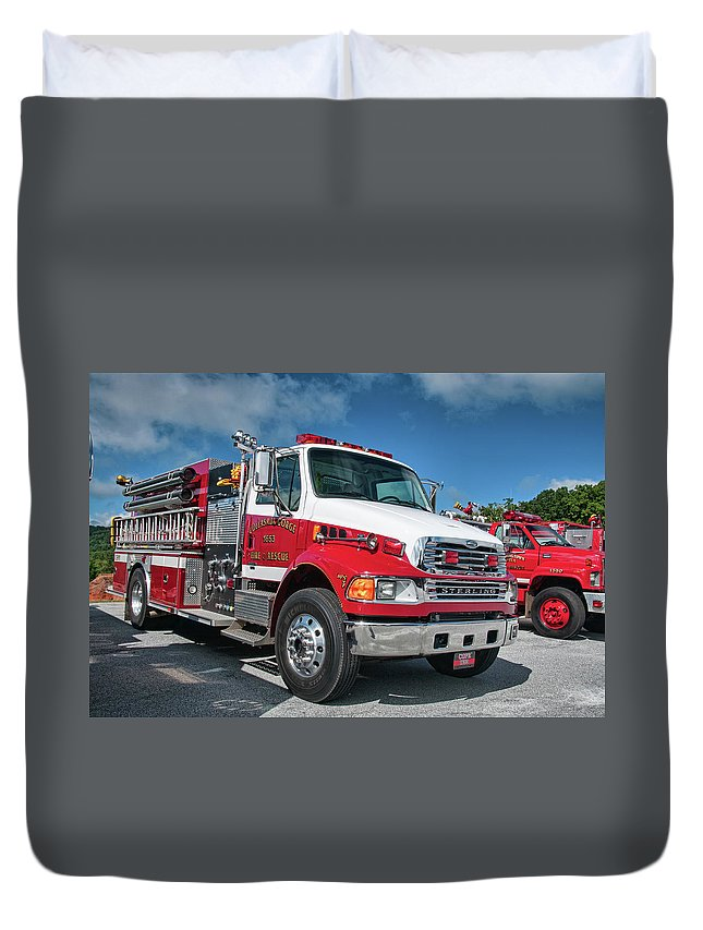 Cullasaja Duvet Cover featuring the photograph Cullasaja Gorge Fire Rescue - Engine 1653, North Carolina by Timothy Wildey