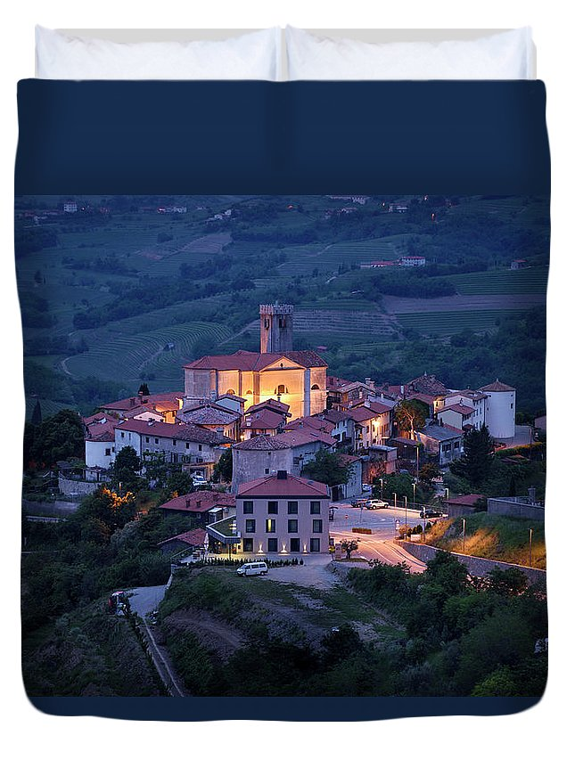 Smartno Duvet Cover featuring the photograph Cultural Heritage Monument Medieval Hilltop Village Of Smartno B by Reimar Gaertner