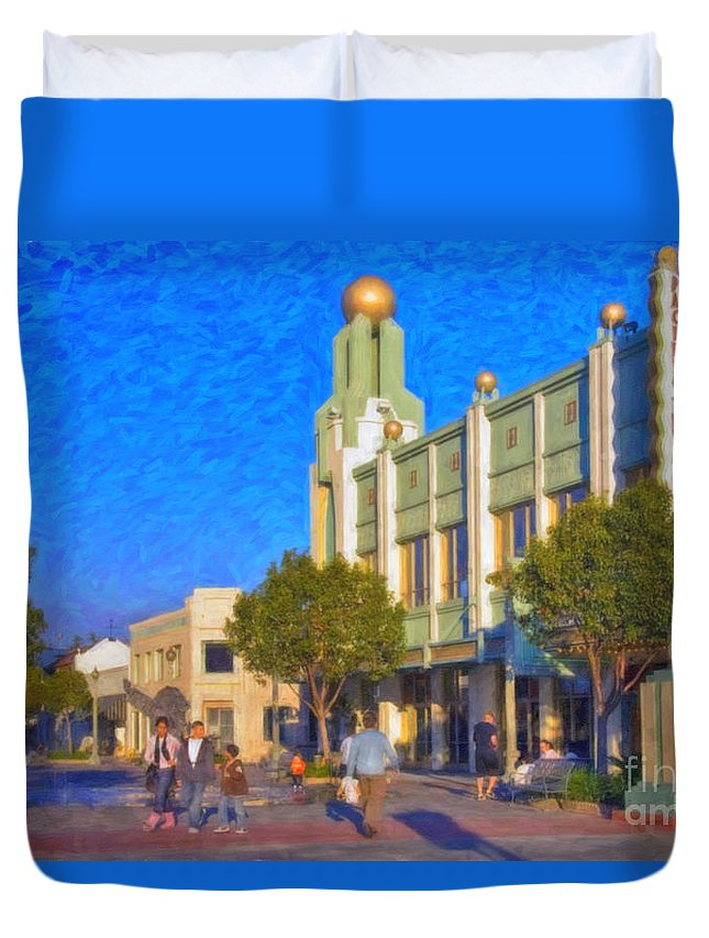 Culver City Plaza Theaters Los Angeles California Duvet Cover featuring the photograph Culver City Plaza Theaters  by David Zanzinger