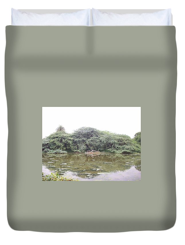 Perching Place For Birds. Fallen Tree. Duvet Cover featuring the photograph Tree Fallen In Water by Parveen Shrivastava