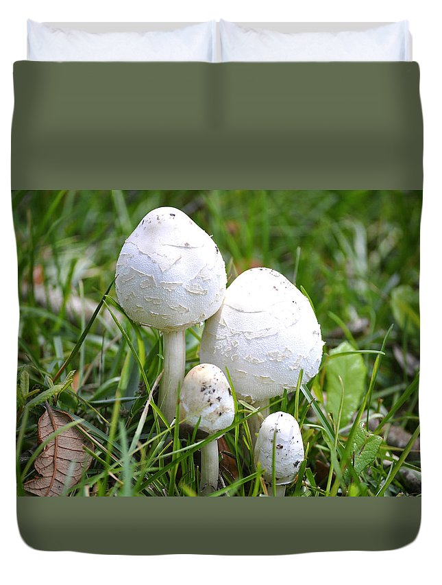 Toadstools Duvet Cover featuring the photograph Cumberland Toadstools by Debra White