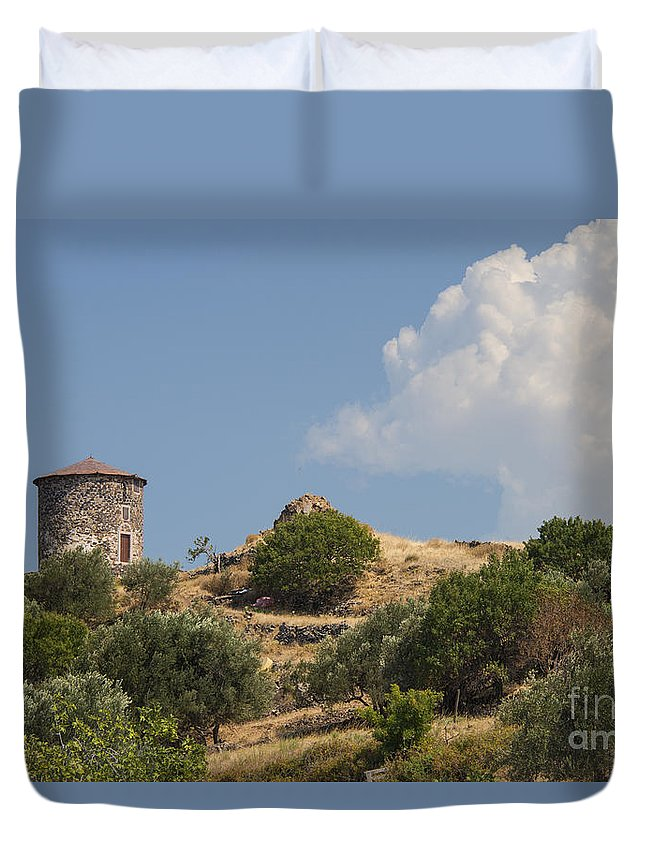 Cunda Island Turkey Greek Windmill Windmills Structure Structures Architecture Landscape Landscapes Duvet Cover featuring the photograph Cunda Island Greek Windmill by Bob Phillips