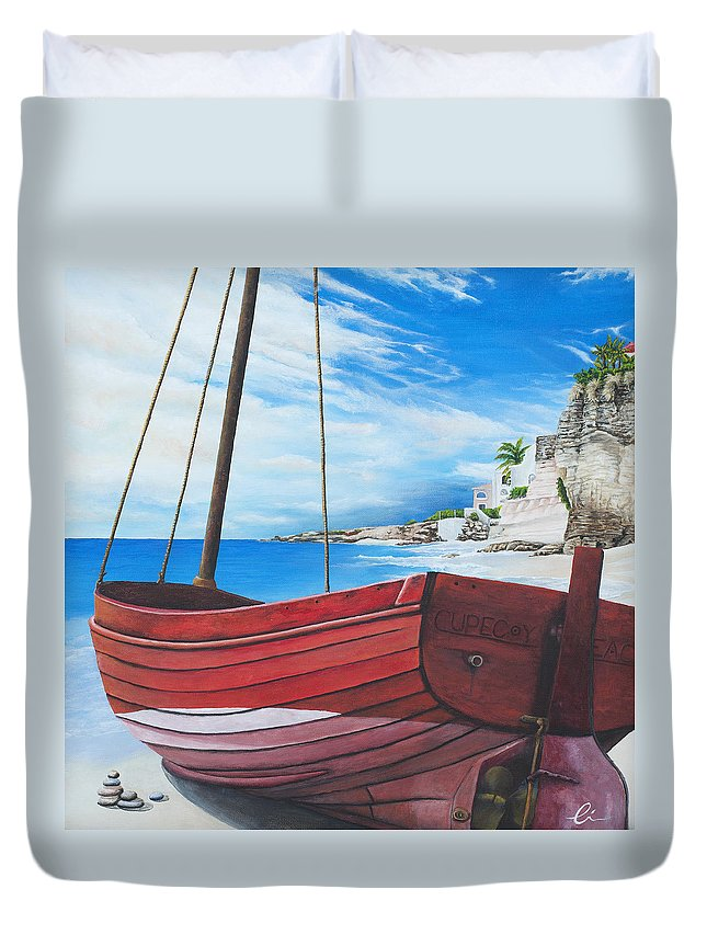 St Maarten Duvet Cover featuring the painting Cupecoy Beach by Cindy D Chinn