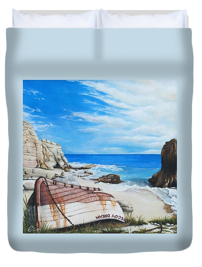 Sint Maarten Duvet Cover featuring the painting Cupecoy Dream by Cindy D Chinn