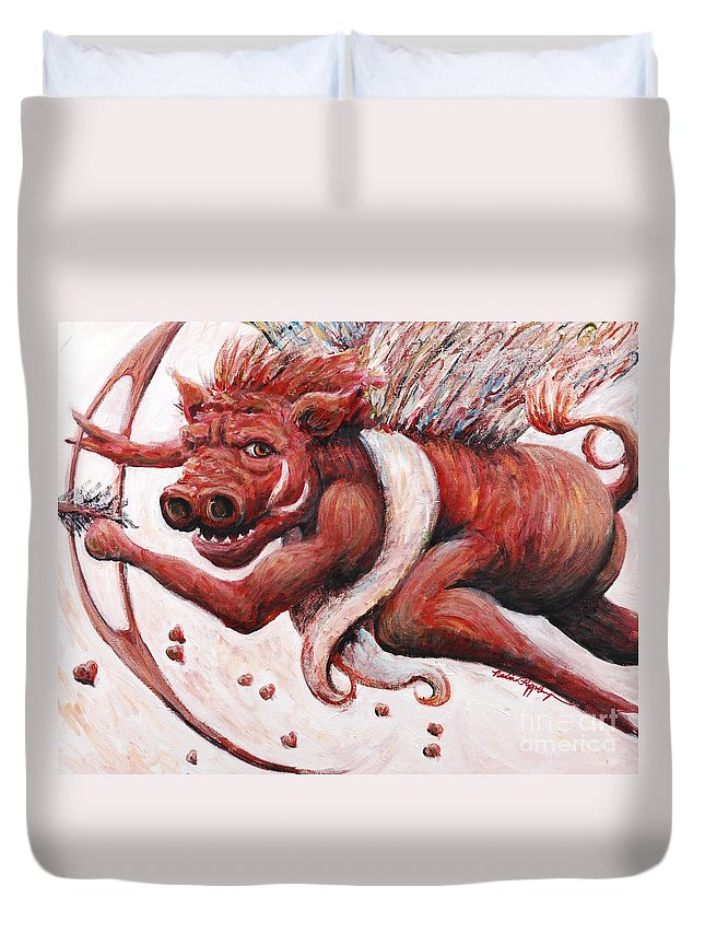 Pig Duvet Cover featuring the painting Cupig by Nadine Rippelmeyer