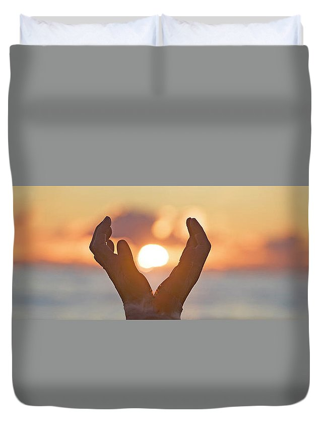 Human Duvet Cover featuring the photograph Cupped Hands by Buddy Mays
