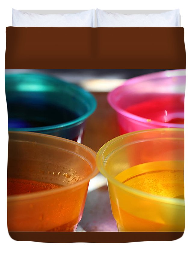 Dye Duvet Cover featuring the photograph Cups of Color by Colleen Cornelius