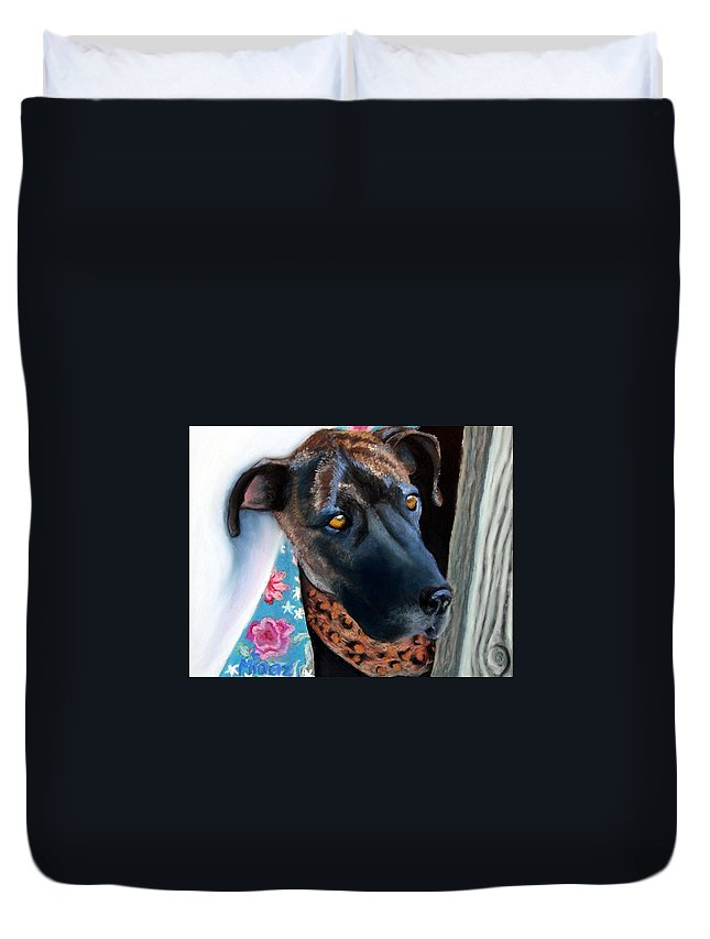 Great Dane Duvet Cover featuring the painting Whats Going On? by Minaz Jantz
