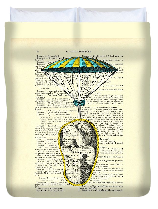 Baby Portrait Duvet Cover featuring the digital art Curled Up Baby With Parachute by Madame Memento