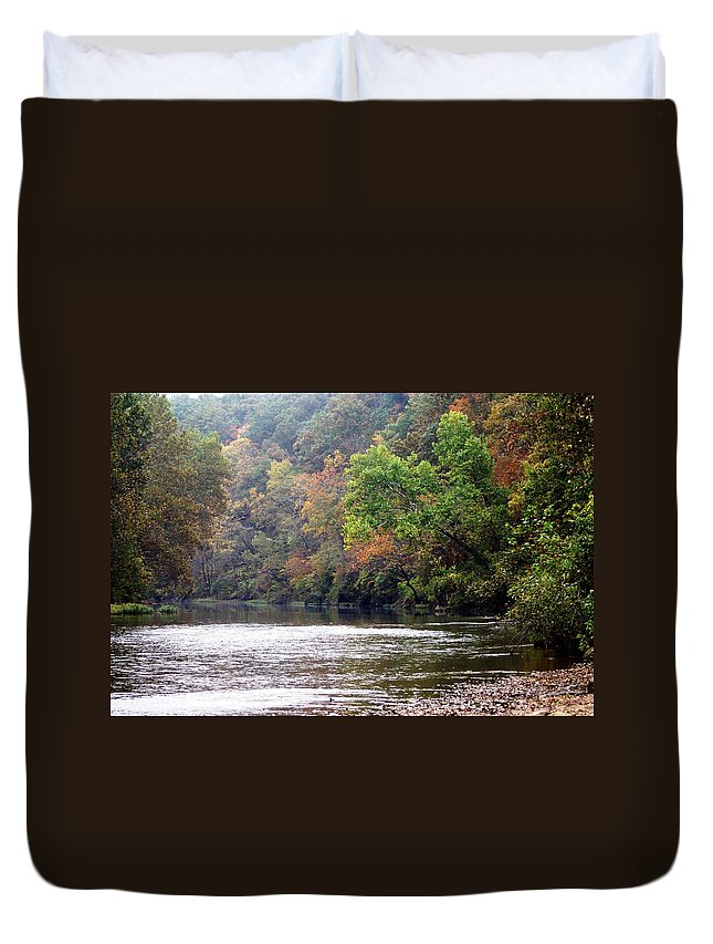 Current River Duvet Cover featuring the photograph Current River Fall by Marty Koch