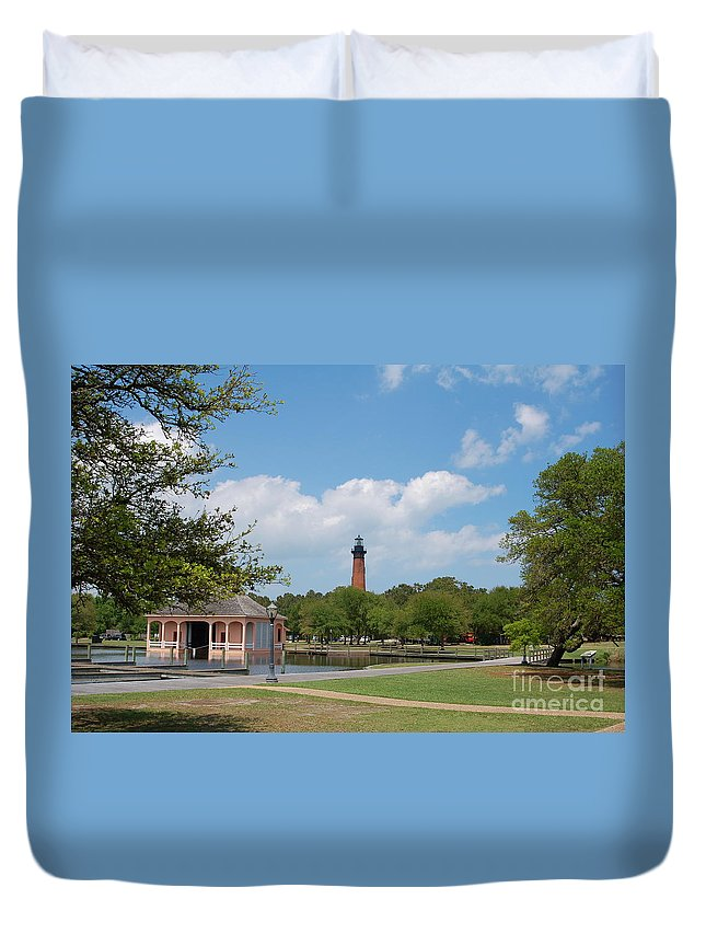 Corolla Duvet Cover featuring the photograph Currituck Lighthouse From Heritage Park by Don Wilhour