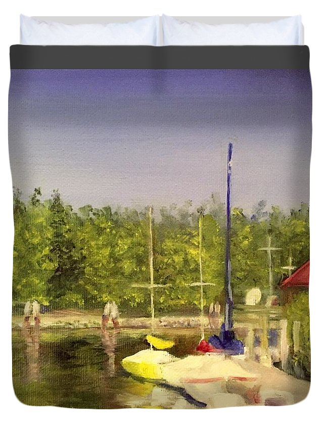 Sailboats Duvet Cover featuring the painting Curtin's Marina II by Sheila Mashaw