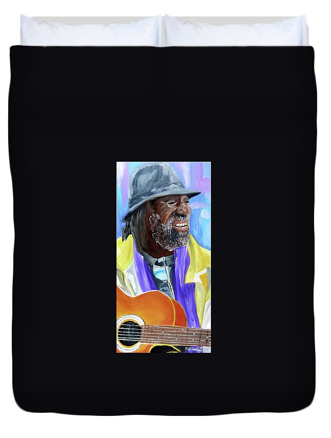 Guitar Player Paintings Paintings Duvet Cover featuring the painting Curtis Lowe by Michael Lee