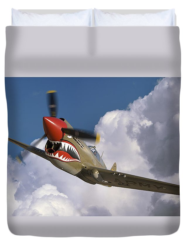 Flying Tigers Duvet Cover featuring the photograph Curtiss P-40n Warhawk by Larry McManus