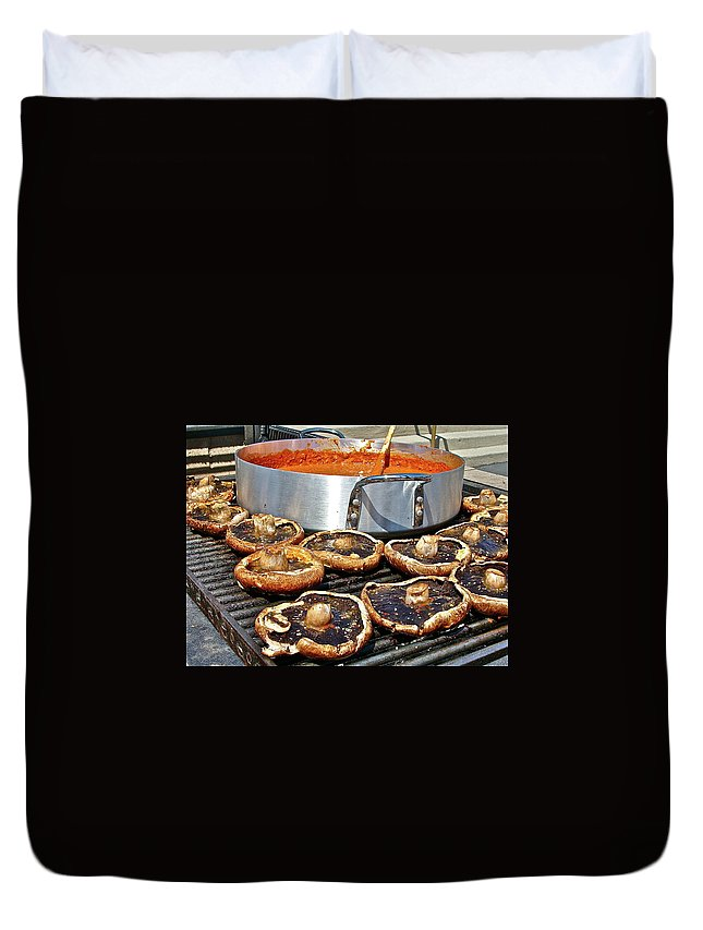 Food Duvet Cover featuring the photograph Curt's Mushrooms by Diana Hatcher